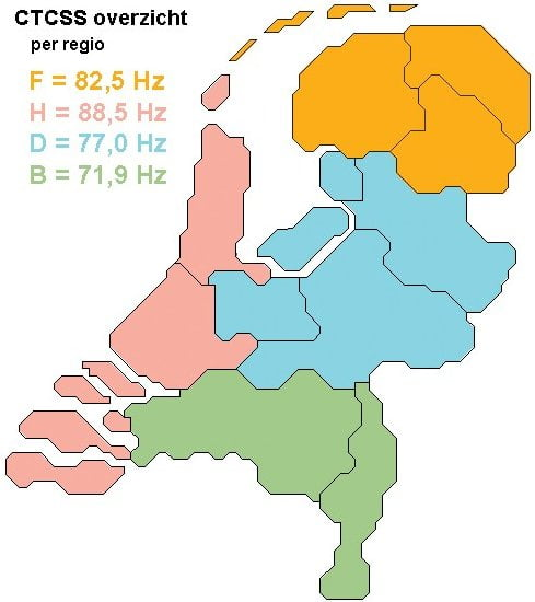 Repeater CTCSS map The Netherlands